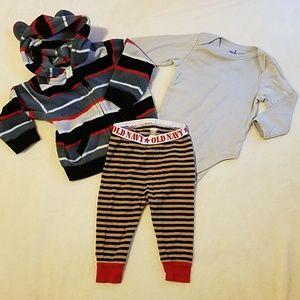 Size 6-12 month bundle onesie, sweatshirt pjs